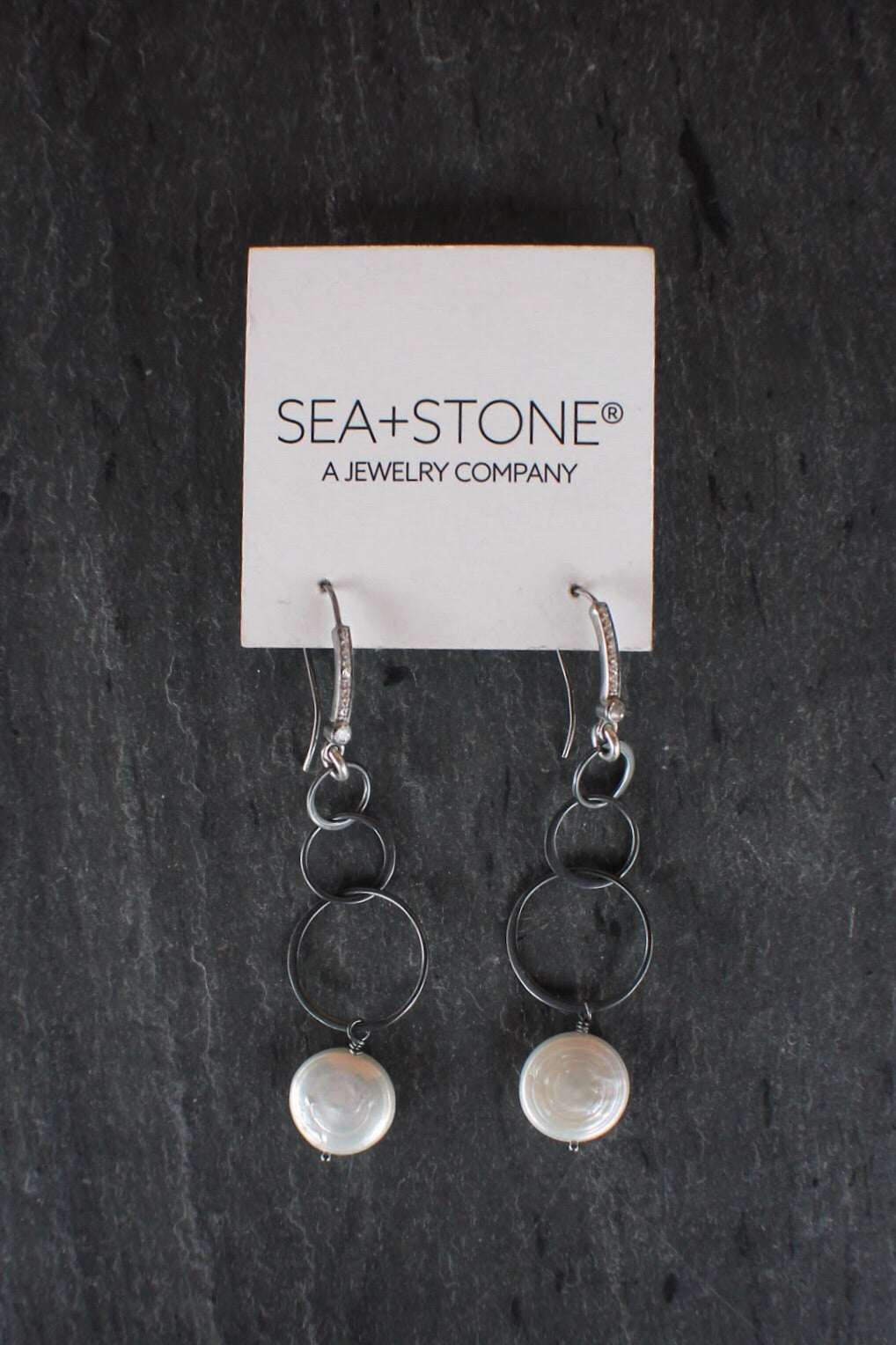 Blackened Silver Pearl Drop Earrings