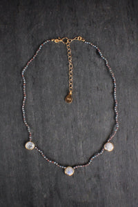 Multicolored Corundum & Moonstone Station Choker