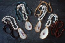 Oyster, Pearl, & Suede Necklace