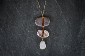 sea and stone jewelry Plum Shell & Beach Pebble Necklace