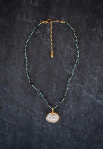 sea and stone jewelry Tiny Turquoise & Shell Necklace