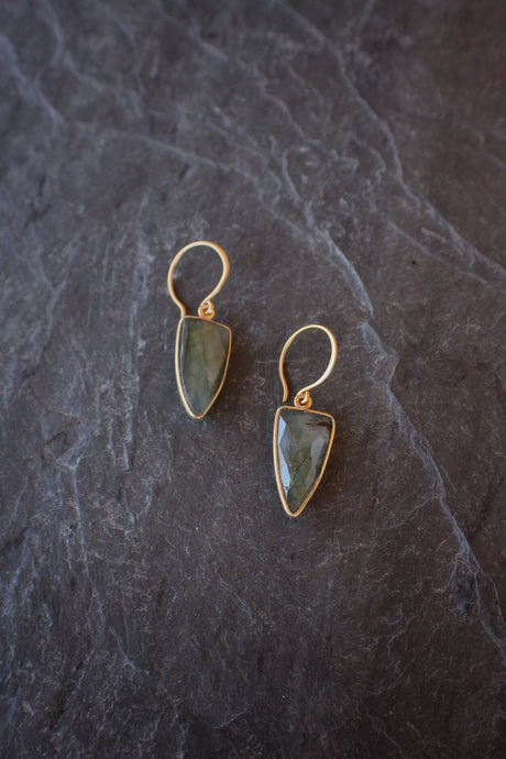 sea and stone jewelry Labradorite Dagger Drop Earrings