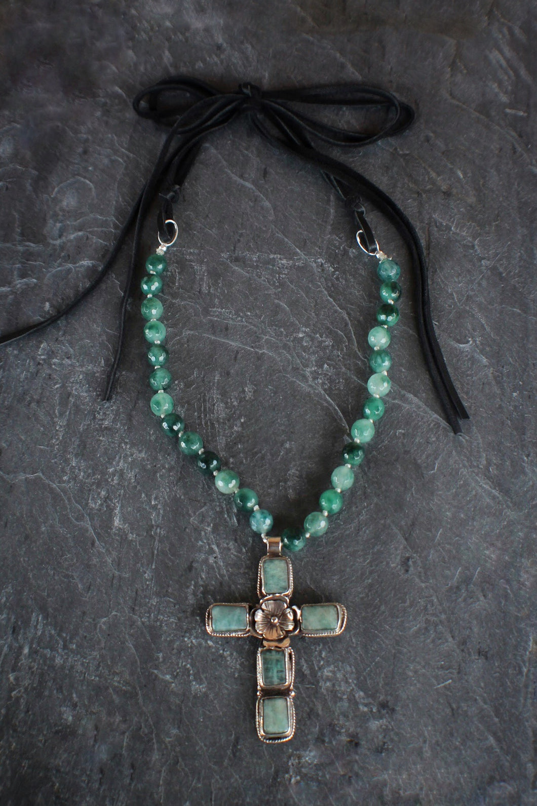 Moss Agate, Amazonite Cross, & Suede Necklace