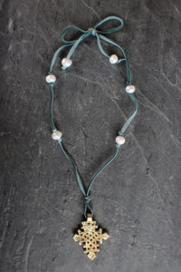 sea and stone jewelry Cross, Pearl, & Aqua Suede Necklace