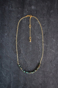 Gemstone Bar Necklace in African Turquoise