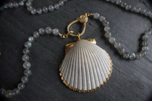sea and stone jewelry Pave Labradorite Necklace With Scallop Shell