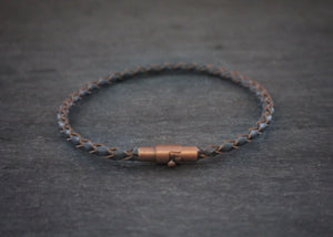 sea and stone leather braclet with magnetic clasp slate blue
