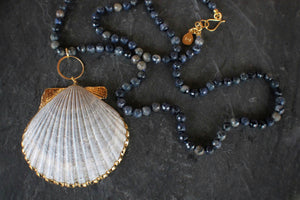 sea and stone jewelry Dumortierite & Scallop Shell Necklace