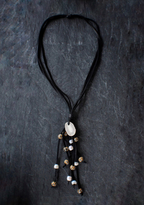 sea and stone jewelry Suede Antler Slice Necklace