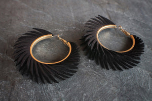 sea and stone jewelry Leather Fringe Hoops