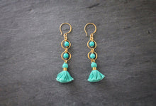 sea and stone jewelry Turquoise Tiered Tassel Earrings