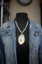 Aquamarine, Oyster, & Suede Necklace