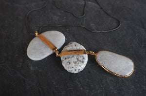 sea and stone jewelry Textured River & Beach Pebble Necklace