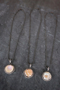Keshi Pearl, Diamond, & Blackened Silver Necklace