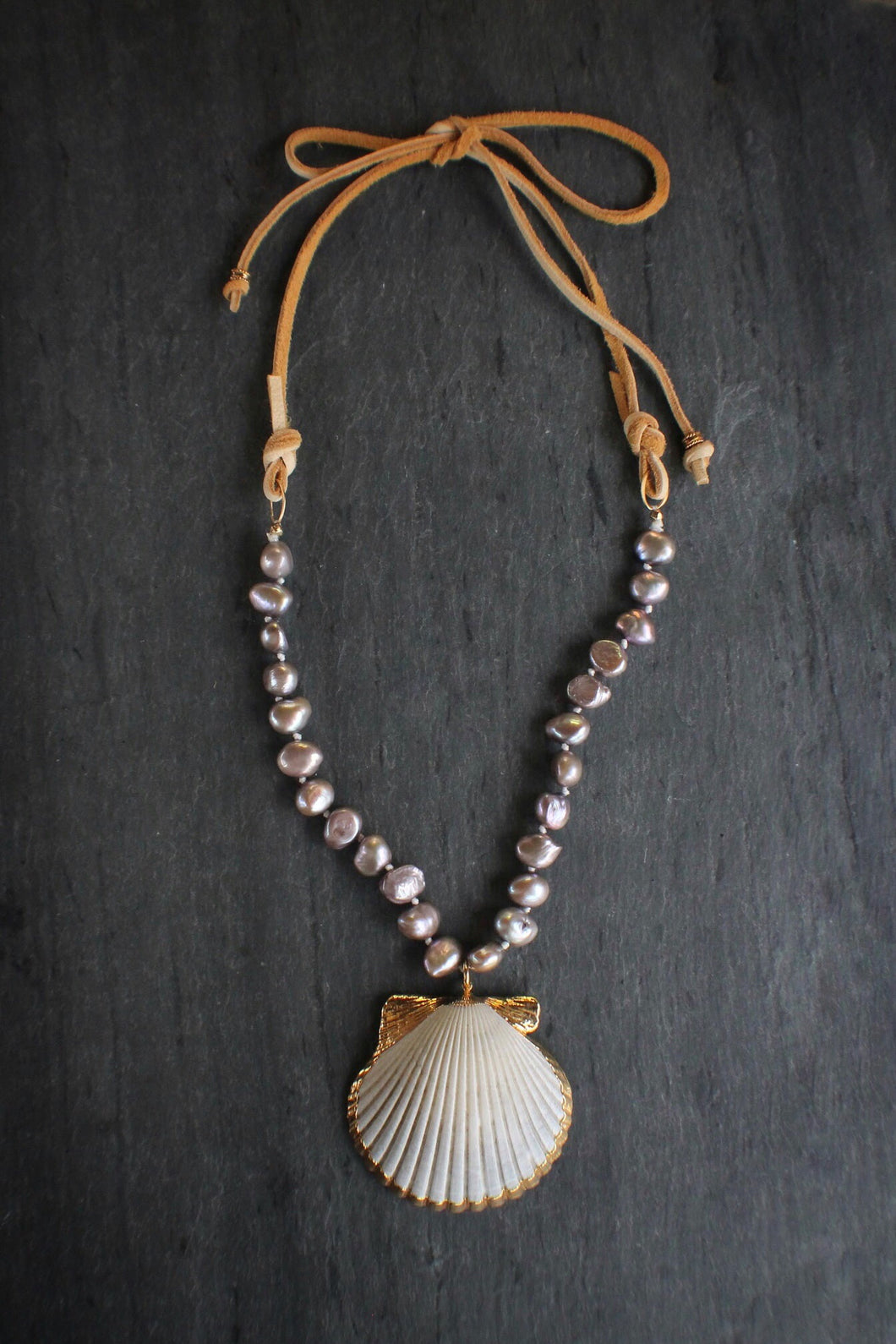 sea and stone jewelry Lavender Pearl, Shell, & Suede Necklace