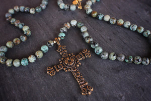 sea and stone jewelry Long Cross & African Turquoise Necklace
