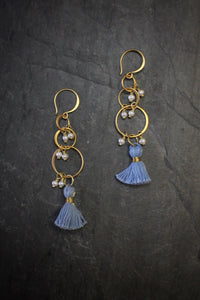 sea and stone jewelry Pearl Tiered Tassel Earrings