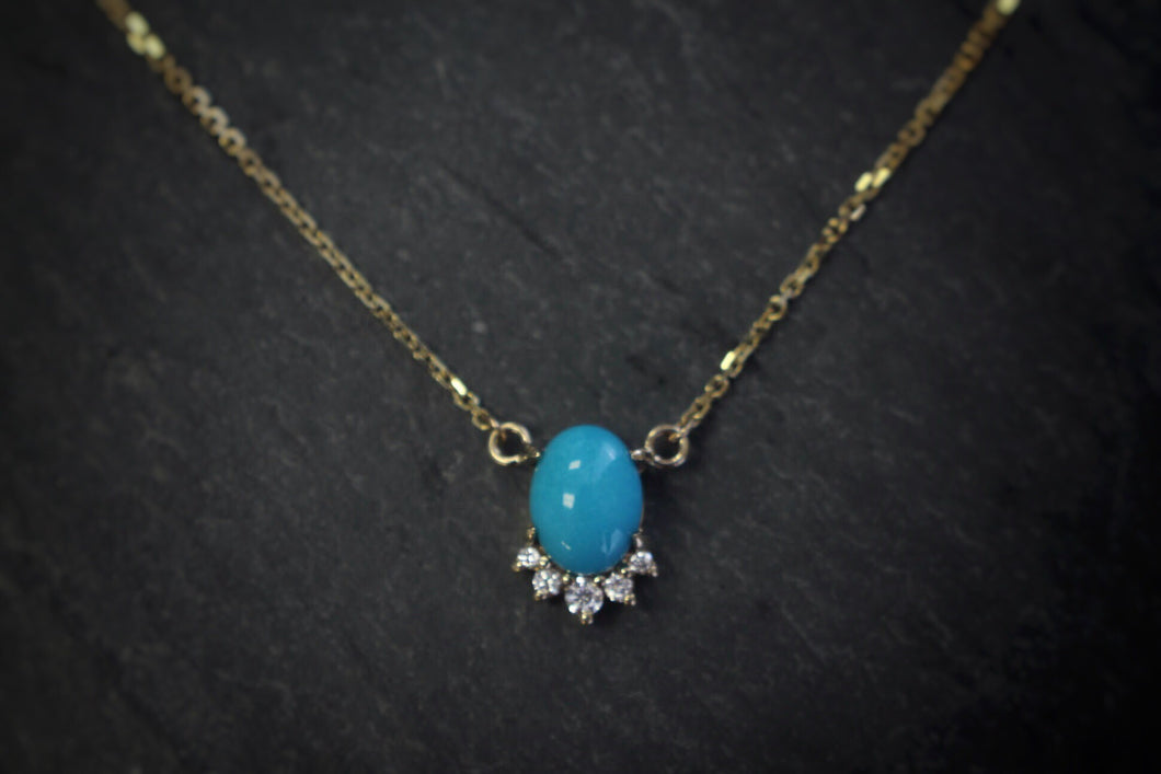 sea and stone jewelry Yellow Gold, Turquoise, & Diamond Necklace