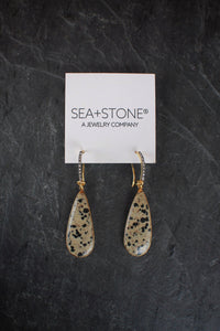 sea and stone jewelry Diamond & Dalmatian Jasper Earrings