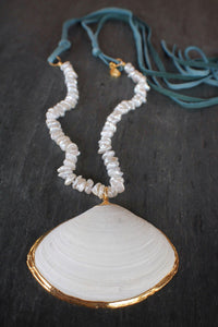 sea and stone jewelry Heshi Pearl, Shell, & Suede Necklace
