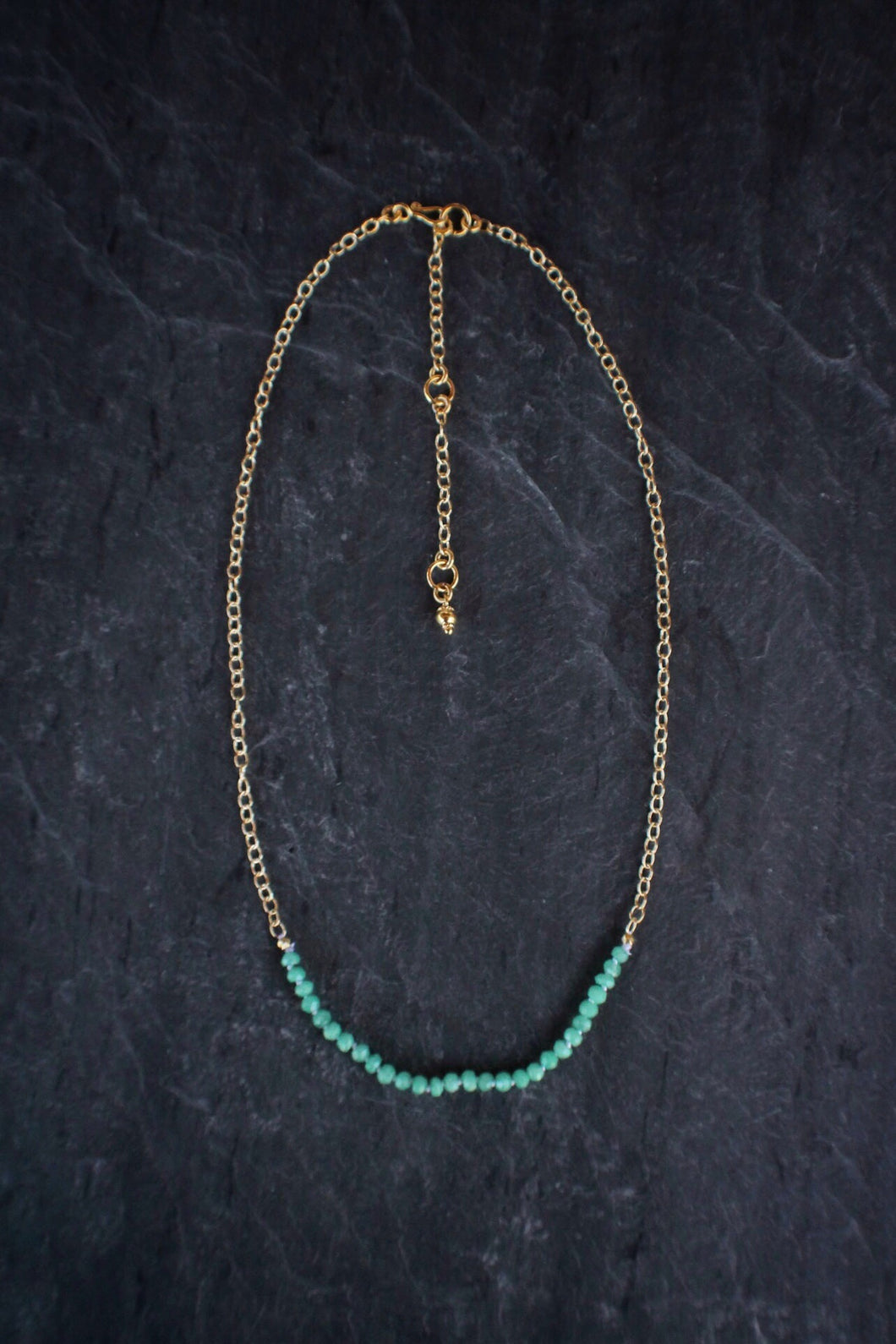 sea and stone jewelry Gemstone Bar Necklace in Chrysoprase