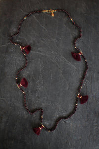sea and stone jewelry Garnet Tassel Necklace
