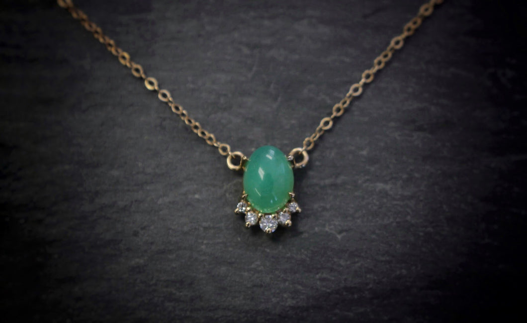 sea and stone jewelry Yellow Gold, Chrysoprase, & Diamond Necklace