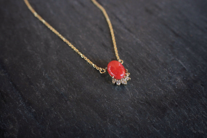 sea and stone jewelry Yellow Gold, Coral, & Diamond Necklace