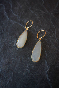 Faceted White Moonstone Drop Earrings