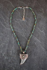 African Turquoise & Sterling Sharks Tooth
