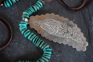 sea and stone jewelry Carved Feather & Turquoise Necklace