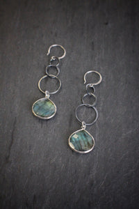 sea and stone jewelry Linked Blackened Silver Labradorite Drops
