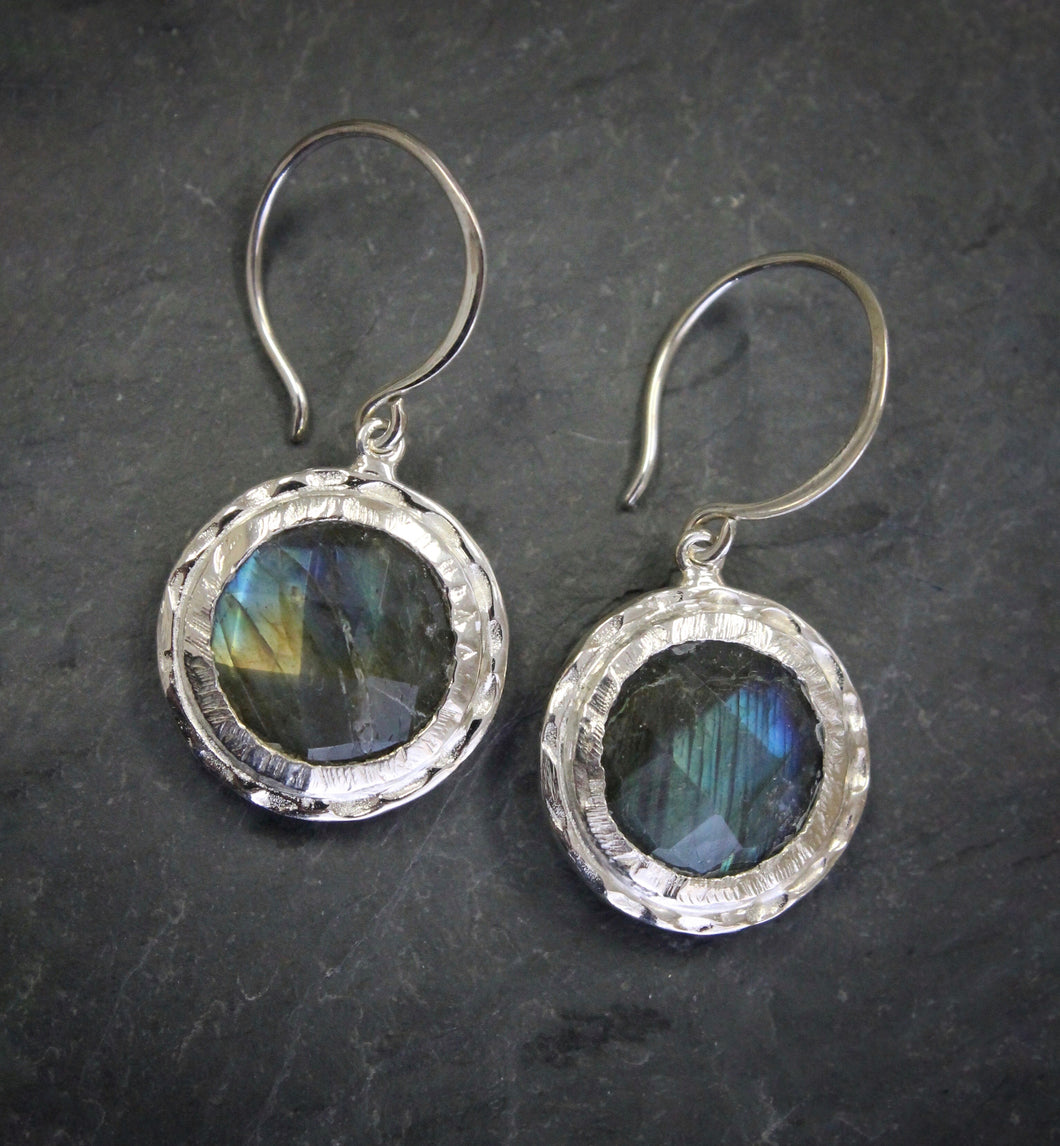 Hammered Labradorite Earrings