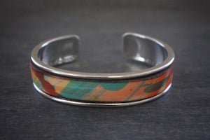 sea and stone tropical print leather inlay cuff bracelet thick silver