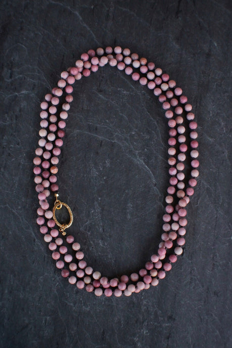 sea and stone jewelry Pave Rhodonite Wrap Necklace
