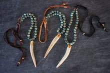 sea and stone jewelry African Turquoise, Antler, & Suede Necklace