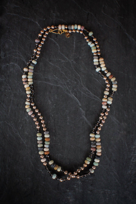 sea and stone jewelry Mixed Gemstone Cascade Wrap Necklace
