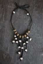 Leather, Wood, & Pearl Bib Necklace