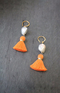 sea and stone jewelry Baroque Pearl & Orange Tassel Earrings