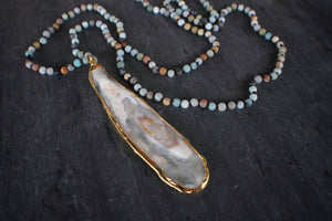 sea and stone jewelry Amazonite & Oyster Necklace
