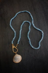 sea and stone jewelry Aquamarine & Diamond Wrap Necklace With Shell Pendant