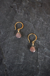 sea and stone jewelry Tiny Chocolate Moonstone Drops