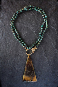 sea and stone jewelry Pave, Tumbled Turquoise, & Horn Necklace