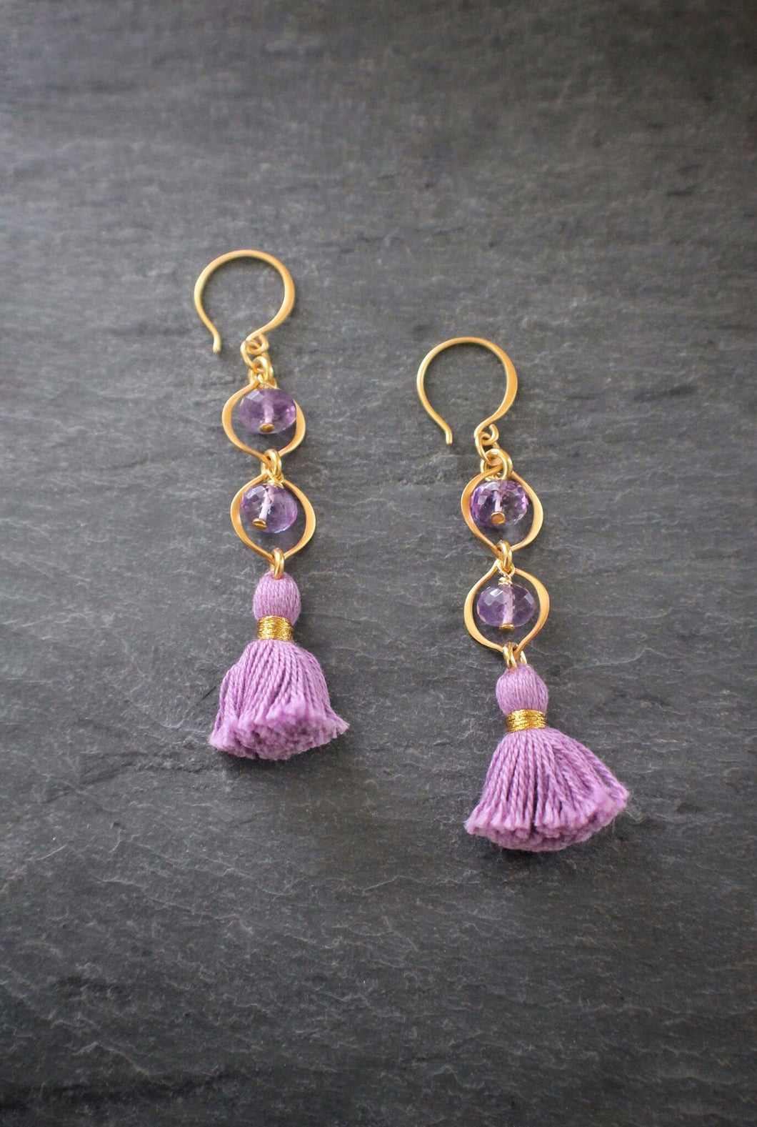 sea and stone jewelry Amethyst Tiered Tassel Earrings