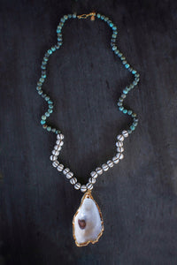 sea and stone jewelry Matte Turquoise & Wood Bead Removable Oyster Necklace