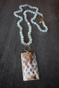 sea and stone jewelry Aquamarine & Faceted Horn Necklace