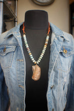 Amazonite, Turkey Wing, & Suede Necklace