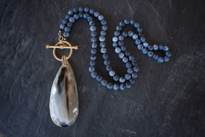 sea and stone jewelry Blue Crackle Stone & Horn Necklace