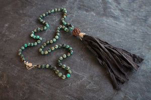 sea and stone jewelry Turquoise Fabric Tassel Necklace