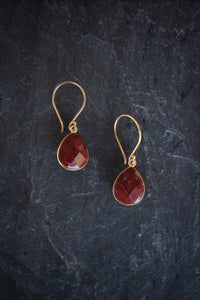 Faceted Jasper Drop Earrings